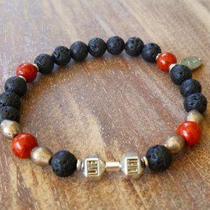 NWT Men's ~ Red Jasper/Lava Dumbbell Bracelet